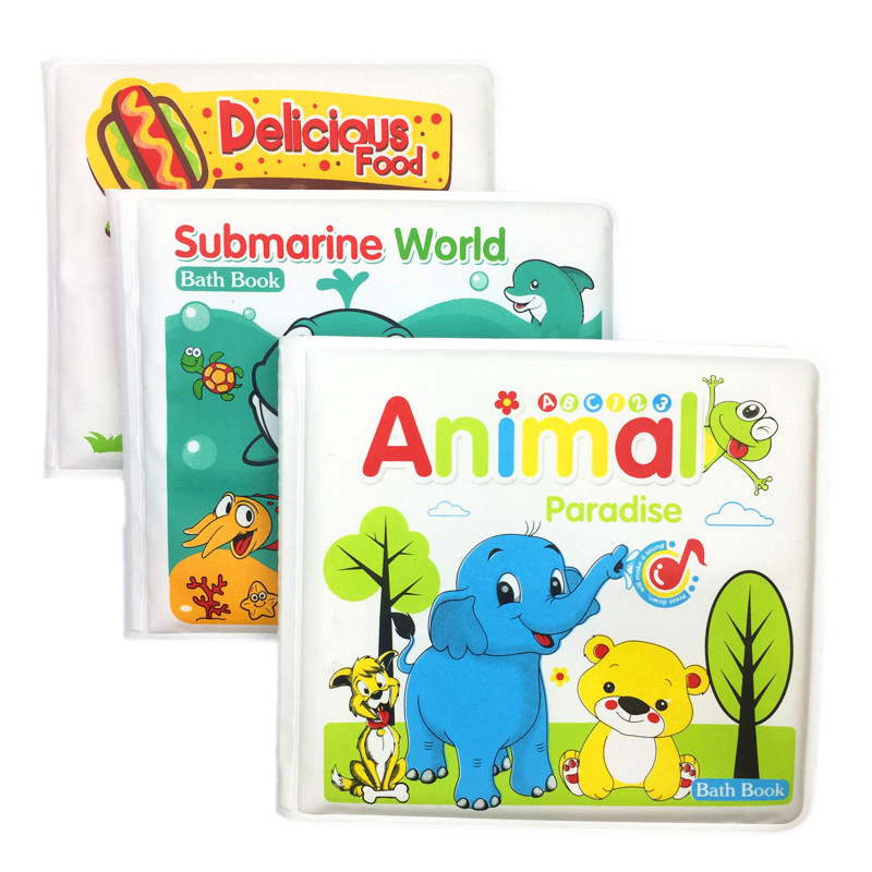 Books For Babies Waterproof 4 Pages Animal Learning Bath Book