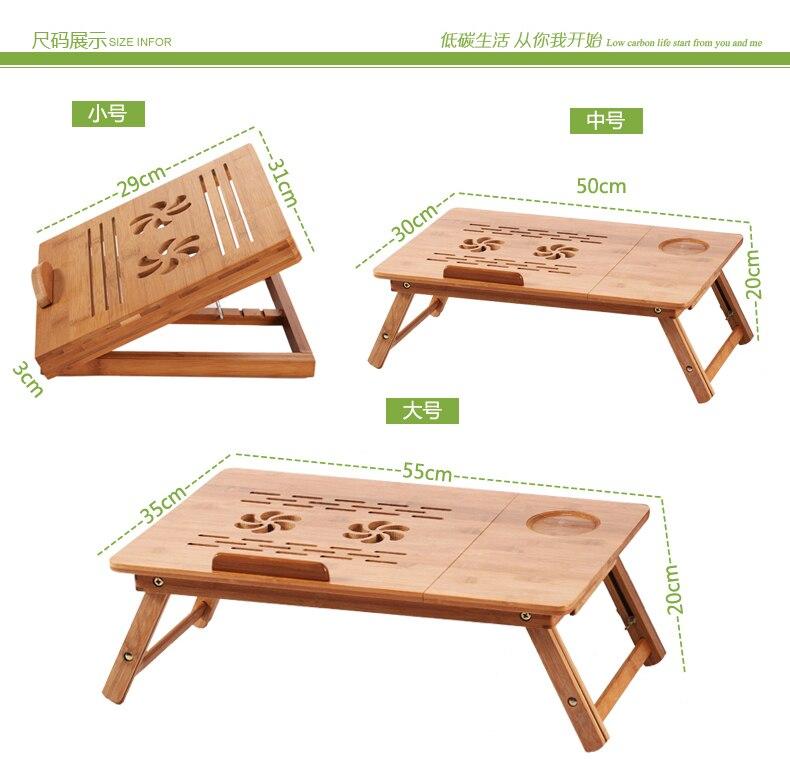 Bureau d'apprentissage de lit portatif de bureau pliant de bambou qui respecte l'environnement avec le ventilateur et le tiroir d'usb