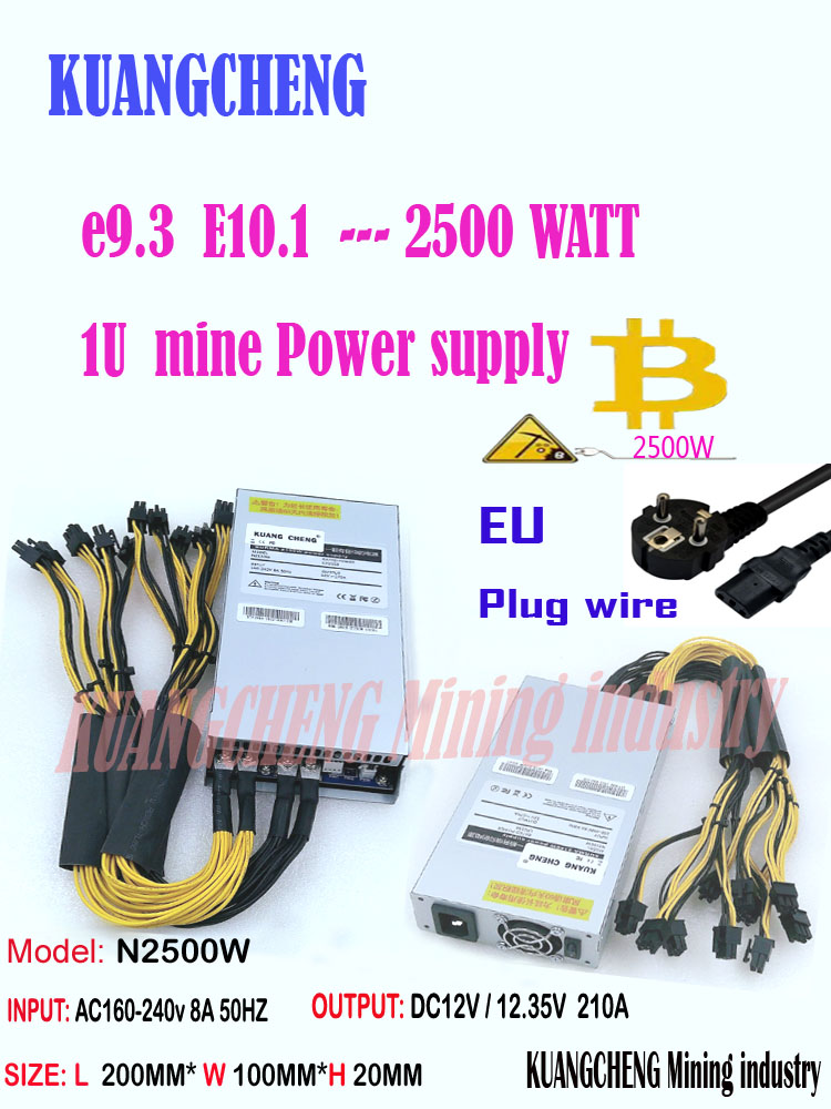ASIC Miner BTC Miner New PSU 1U 2500w 12V Port 6pin*13 Suitable For Antminer S9k S9 Ebit E9i E9+ E10.1.2.3 E9.3 Z1 WhatsMiner M3
