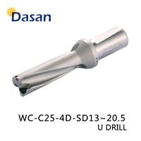 U Drill 4D WC SP C25 14 15 16 17 18 19 20 mm Indexable Insert Drill Bit Tool Lathe Metal Drilling Tools for WC Insert
