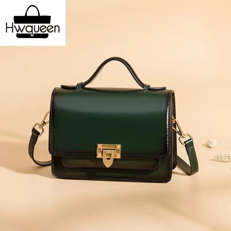 Dark Green Woman Handbag Genuine Leather Lady Shoulder Sling Bags Cover Closure Vintage Messenger Bag Female Solid Square Purse