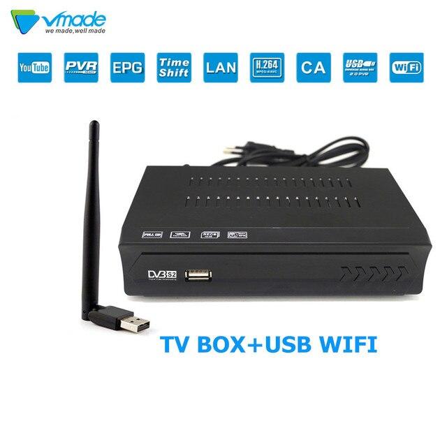 Vmade alta receptor de tv por satélite digital dvb s2 m5 hd completo 1080 conjunto caixa superior suporte h.264 youtube cccam iptv + usb wifi mídia playe