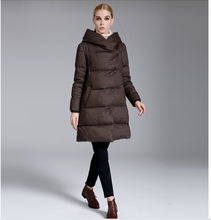 Europe Latest Women Fashion Duck down Down jacket Elegant Leisure Loose Coat Big yards Slim Women Hooded Thick Warm Coat G2296