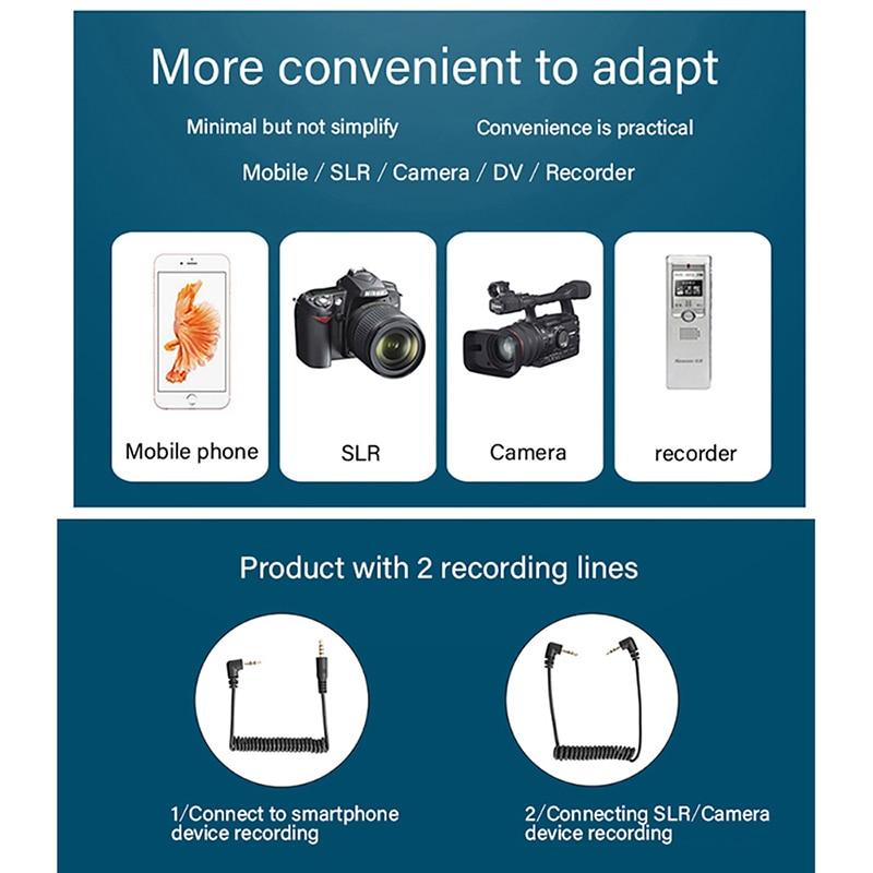 Mini micrófono condensador saramónico Vmic con Cable TRS y TRRS micrófono de grabación de vídeo vlogs para iPhone Android - 6