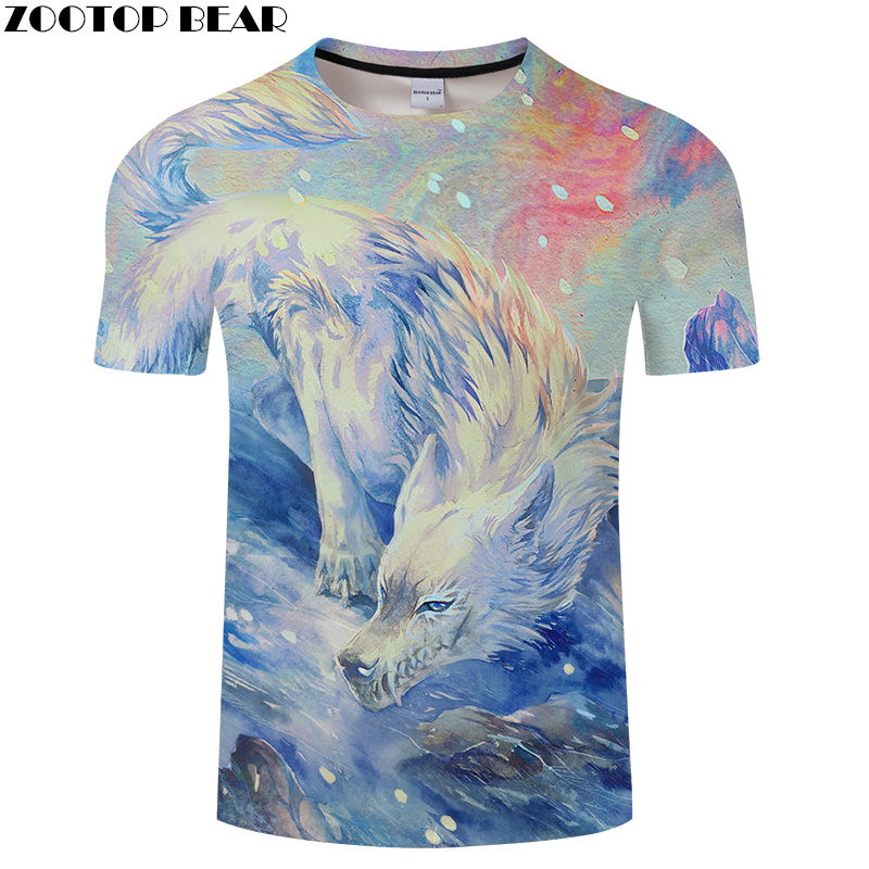 Painting 3D tshirt Men tshirt Wolf t shirt Art t-shirt Harajuku Tee Summer Top ShortSleeve Camiseta Autumn Drop Ship ZOOTOPBEAR