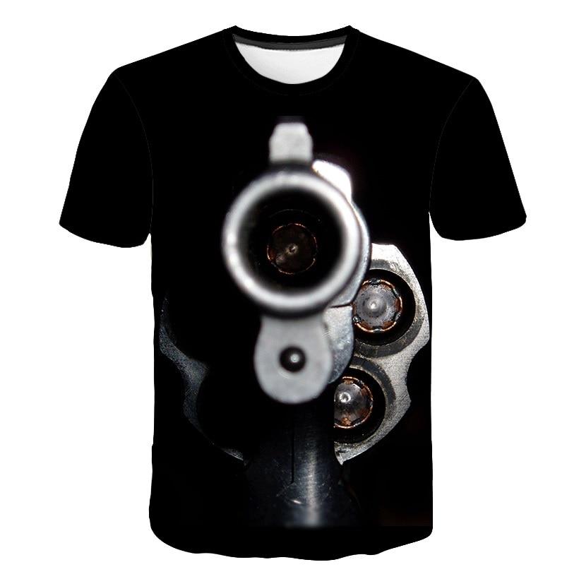 T-shirts Sonderabschnitt Schwarz Coole Lustige Design Gun 2019 Männer T-shirt Mode Miltary Explosion 3d Print Kurzarm Tops Tees Skateboard Streetwear