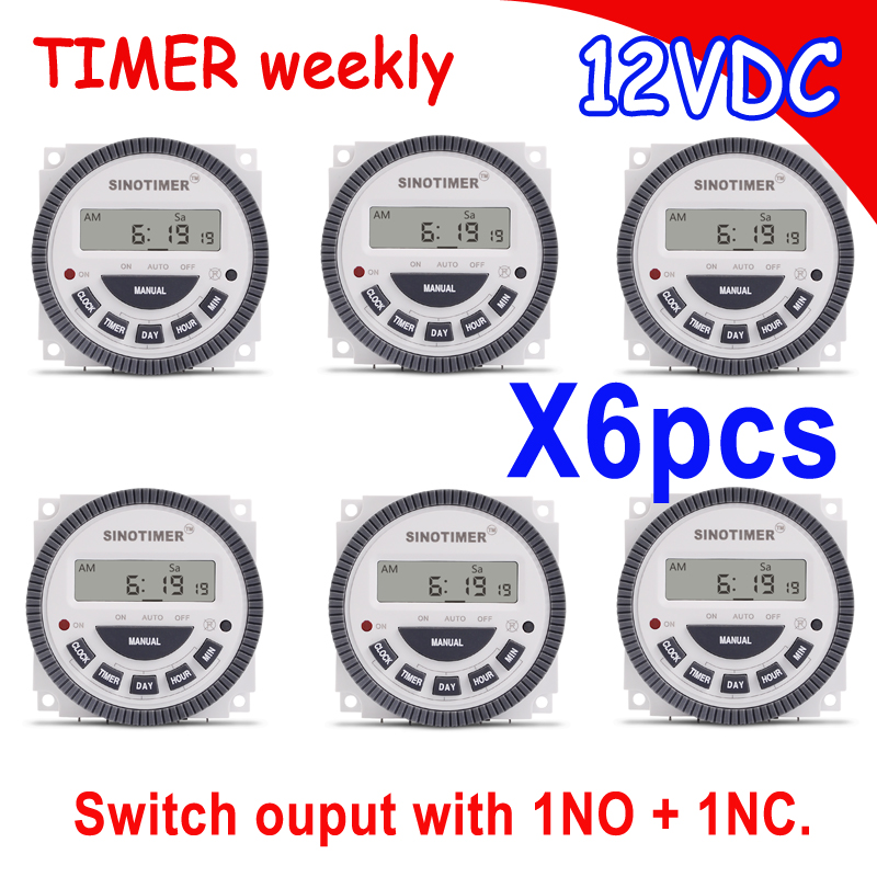 7 days Digital 12VDC AC Timer Programmable Time Switch with 1 NO 1 NC volt free