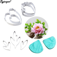 Cutter Peony-Petal Veiner Decorating-Tools Fondant Cake Stainless-Steel Silicone Leaf