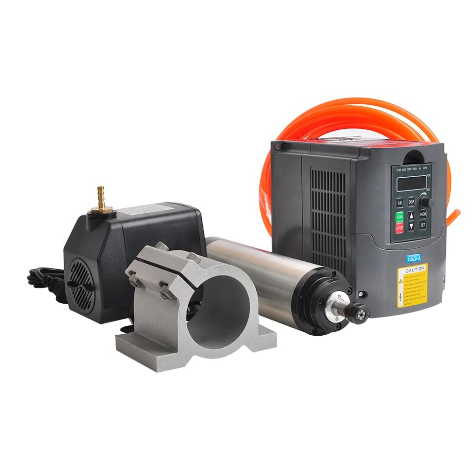 Spindle 1.5KW Water Cooled Spindle Motor 65MM Clamp Bracket 1.5KW VFD Inverter Converter 75W Water Pump 5M Tube For CNC Engraver