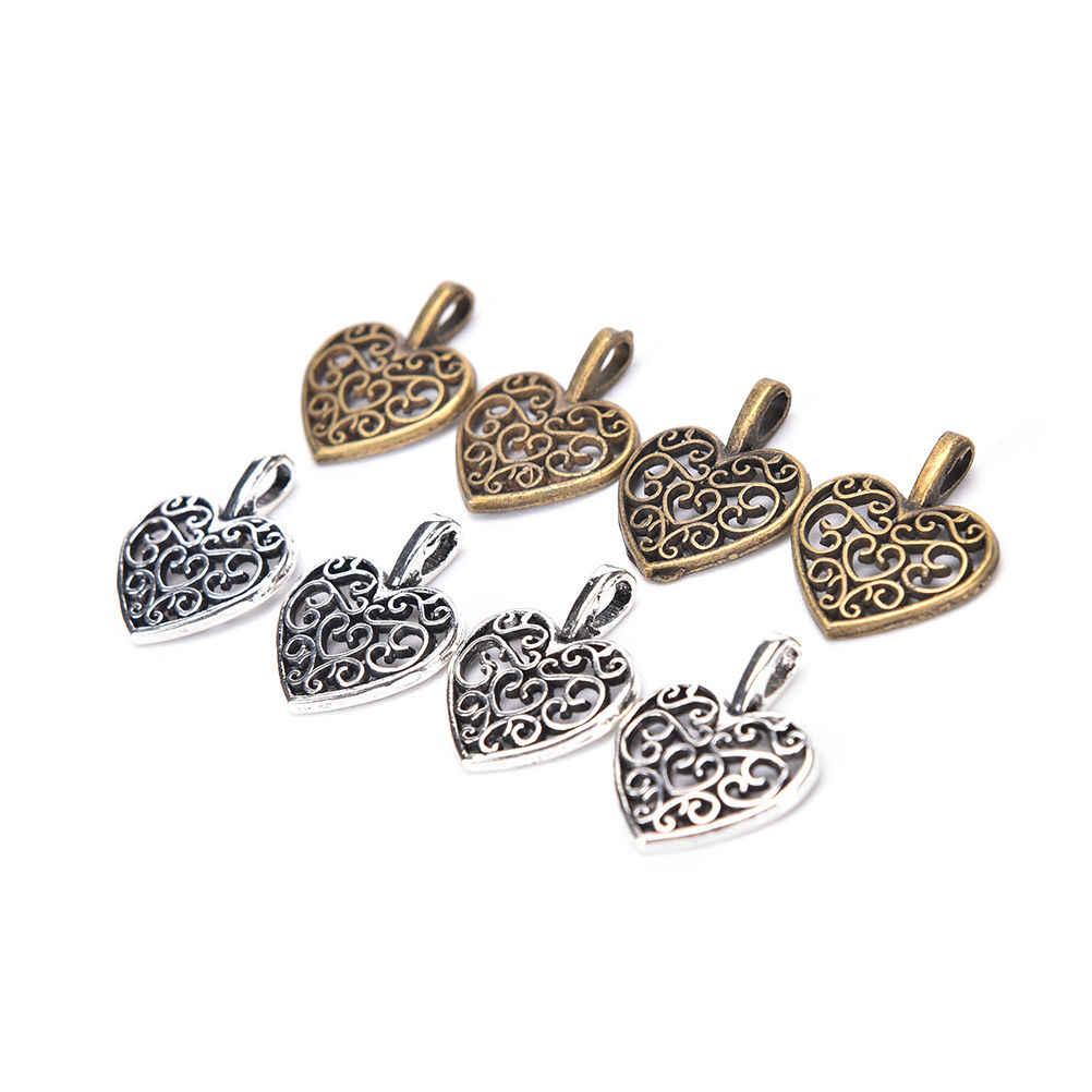 50 Pcs 16.5X14.5 Mm Hollow Kerawang Hati Pesona Antik Perunggu Vintage Logam Paduan Seng Trendi Jantung Liontin untuk perhiasan