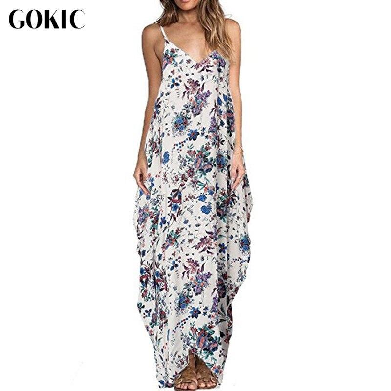 GOKIC Franchised Store GOKIC Boho style Women Vestidos V Neck Floral Print Dress Sleeveless Sundress Summer Beach Evening Strappy Maxi Long Dresses