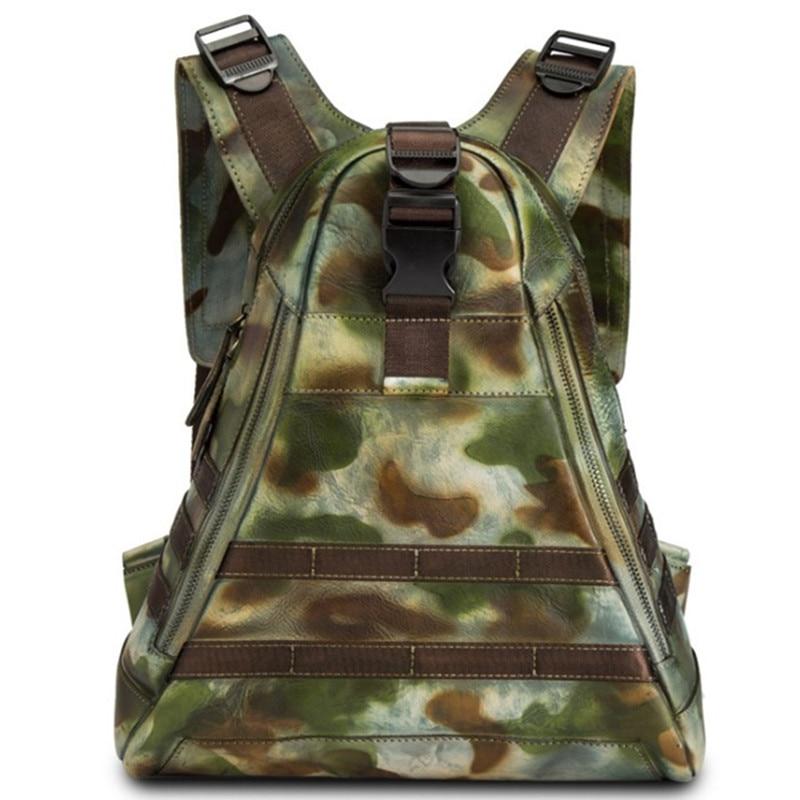 Woman Large Travel Backpack Teenagers School Book Bags Cowhide Genuine Leather Male Leisure Bag Men Camouflage Laptop Backpacks