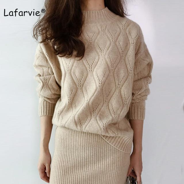 Lafarvie dzianinowy sweter z mieszanki kaszmiru kobiet jesienno zimowy sweter z golfem Hollow sweter kobiecy wzór w romby luźny sweter