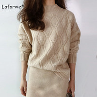 Lafarvie Cashmere Blended Knitted Sweater Women Autumn Winter Turtleneck Hollow Pullover Female Argyle Pattern Loose Sweater