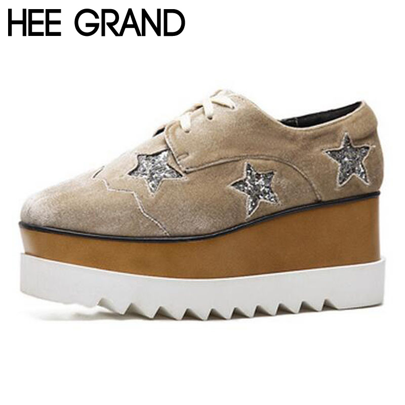ФОТО HEE GRAND Woman Flats Bling Bling Gliter Star Casual Creppers Flat Platform Spring Korean Style Gold Velvet Shoes Woman XWD5396