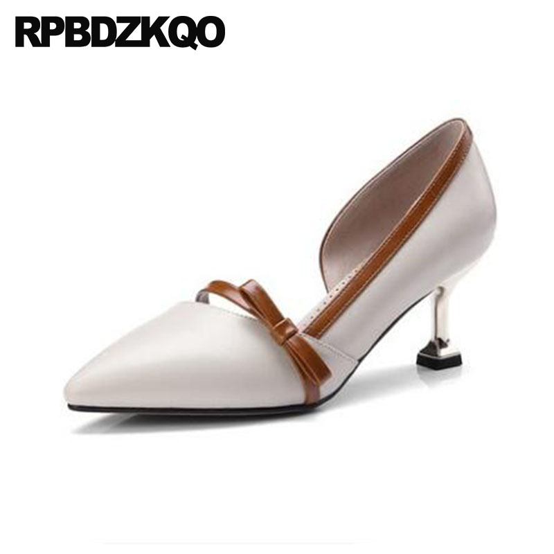 Sandals Shoes Thin Metal Heels Pointed Toe Women Stiletto High Bow 2018 Size 4 34 Novelty Beige Abnormal Genuine Leather PumpsSandals Shoes Thin Metal Heels Pointed Toe Women Stiletto High Bow 2018 Size 4 34 Novelty Beige Abnormal Genuine Leather Pumps