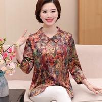 Fashion 3/4 Sleeve Floral Print Silk Blouses Plus Size Women Clothing Summer Woman Casual Blouse New Women Shirts Female Blusa