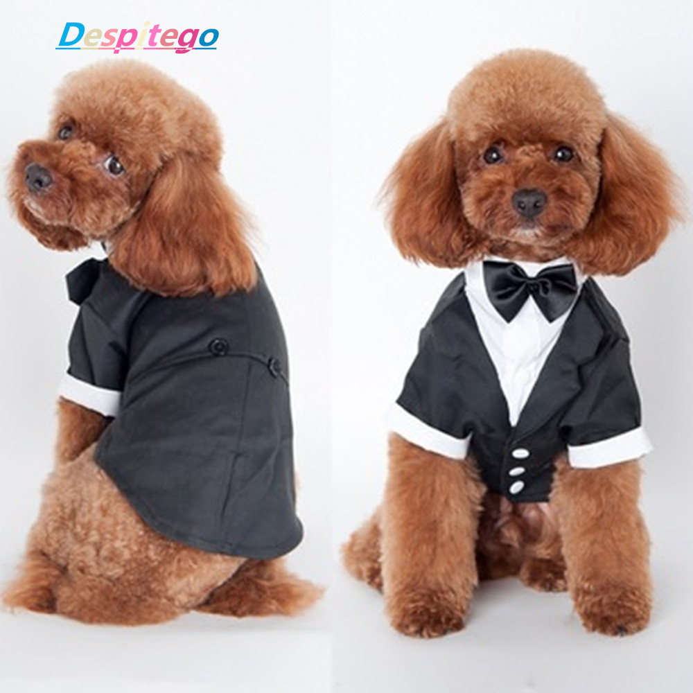 New Pet Suit Dogs Cat Puppy Clothing Prince Wedding Suit Tuxedo Bow ...