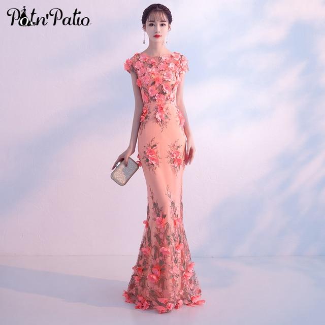 Elegant Mermaid Prom Dresses 2019 Luxury Flower Pearl Lace Prom ...