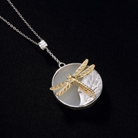 INALIS New Real 925 Sterling Silver Handmade Fine Jewelry Luxurious Hetian Jade Inlay Dragonfly Pendant Necklace for Women Party