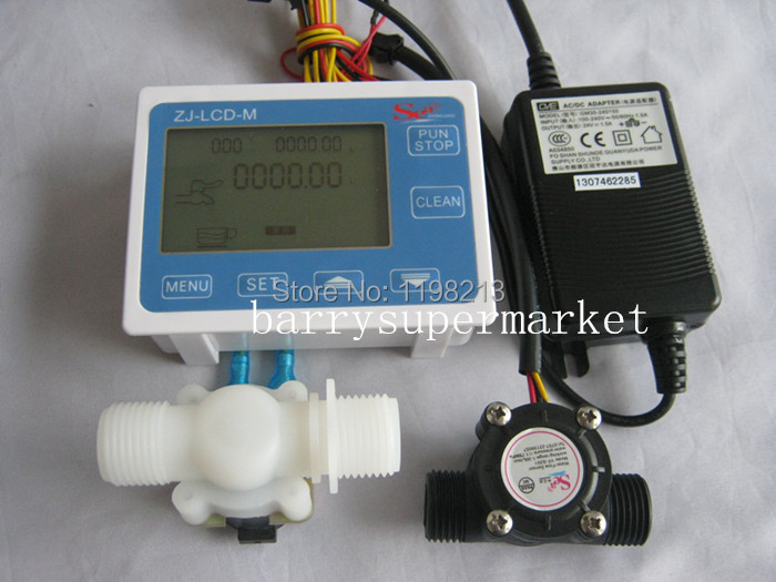 Water Flow Meter flowmeter hall flow sensor indicator Counter LCD display+ Flow Sensor + Solenoid valve +Power Adapter DN15 G1/2 g1 2 water flow control lcd display flow sensor solenoid valve power adapter