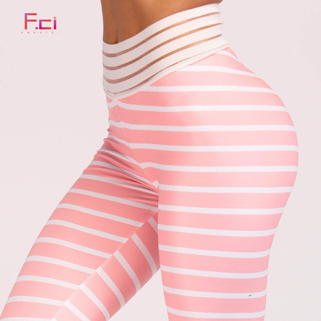 228ee58a295a1 FRECICI New Peaches Striped Print Fitness Leggings Women High Waist Sporting  Workout Flex Leggings Push Up Slim Striped Pants