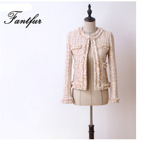 Handmade 2018 Runway Designer Luxury Fashion Blazer Suits Hidden Breasted Tweed Tassel Short Coat Blazer Pink Green Grey