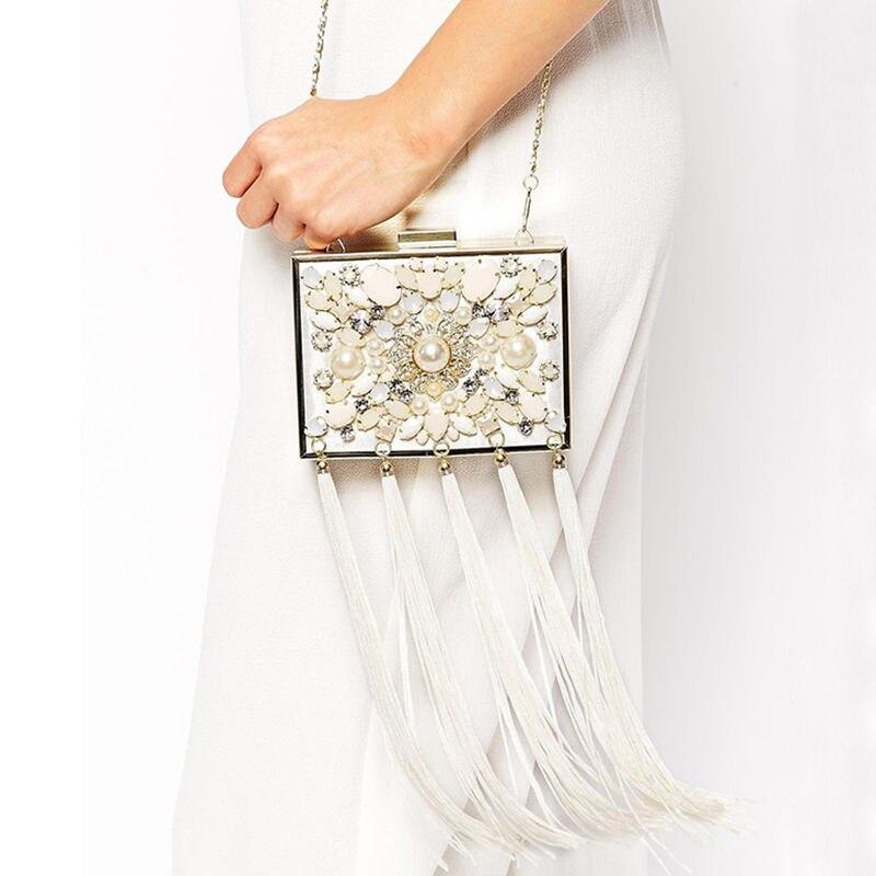 Ethnic Hand sew Pearl Beading Rhinestone Tassel Evening Bag Bridal Clutch Bag Socialite Hand Bag Cheongsam