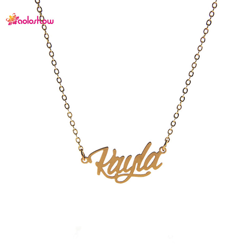 Aoloshow gold color necklace women name alphabet kayla for Women s minimalist jewelry