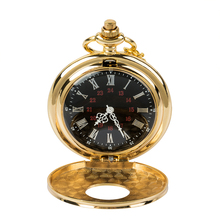 Antique black Roman digital mechanical pocket watch with a necklace punk vintage clock for both men and women free shipping antique silver polish case mechanical men pocket watch black