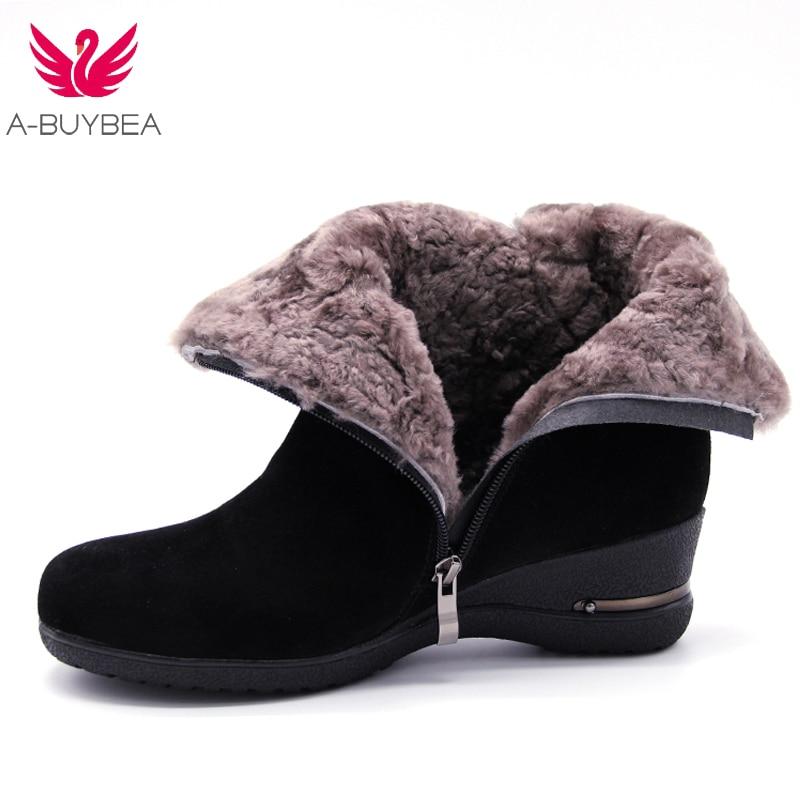 A-BUYBEA femmes cheville bottes En Cuir Véritable coins de laine talons femmes chaussures d'hiver de Neige Bottes Femme Chaud De Fourrure En Peluche Semelle Botas
