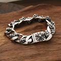 Wholesale silver jewelry S925 star with a Korean male personality retro Flower Silver Cross  Bracelet