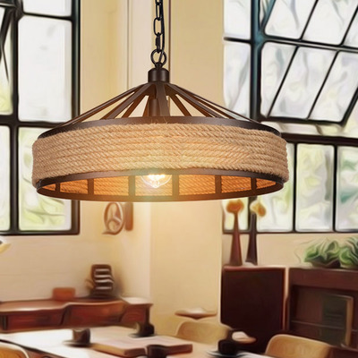 American hemp rope iron Pendant Light loft retro 48CM industrial creative personality net cafe restaurant wind rope Pendant lamp nordic retro loft led pendant light vintage hemp rope lamp industrial glass iron hanging home fixtures for bar restaurant cafe
