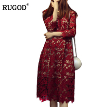 RUGOD 2018 Spring Lace Dress Sexy V Neck Hollow Out Lace Crotchet Dress  with Lining Women 6b9ea0fb74a9