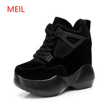 Womens High Platform Shoes 2018 Breathable PU Women Height Increasi 12 CM Thick Sole Trainers Ladies Pink Sneakers