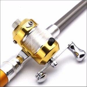 Image 5 - Neue 1 stücke Tragbare Tasche Teleskop Mini Angelrute Pen Form Gefaltet Angelruten Mit Reel Rad Angelrute Stift