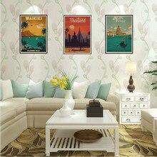 HAVANA/wakkiki/VENICE/TOKYO/THAILAND/AMSTERDAM Posters artísticos de viaje, Vintage, Kraft, pegatina de viaje, póster, decoración de regalo para el hogar