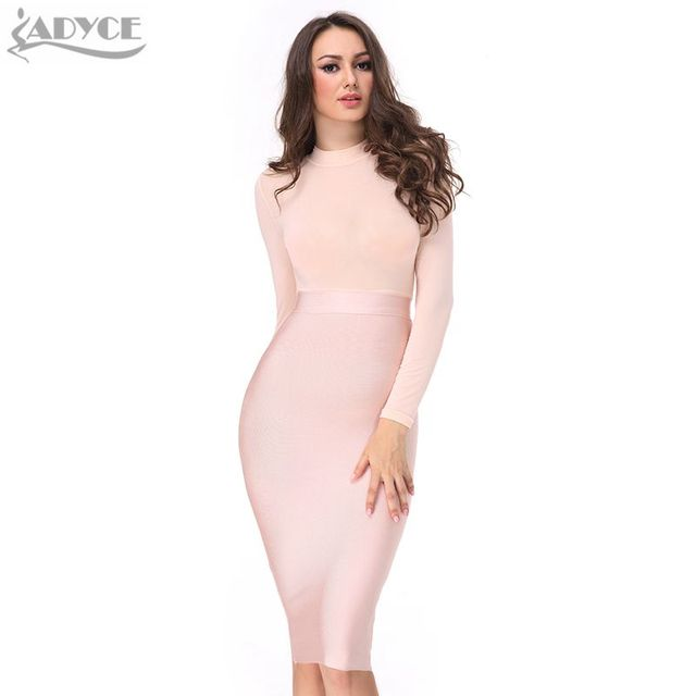 ADYCE 2017 Nova Primavera Vestido mulheres Sexy preto rosa nu vermelho bandage vestido de malha de mangas compridas vestido de noite Vestidos de festa celebridade