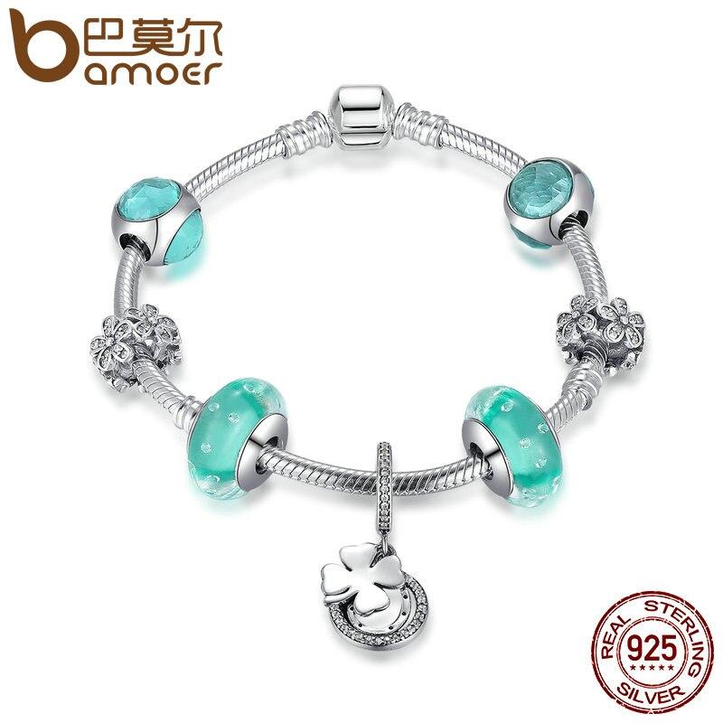BAMOER 925 Sterling Silver Hope Clover Pendant Daisy Spacer Green Beads Women Charm Bracelet Sterling Silver Jewelry PSB013