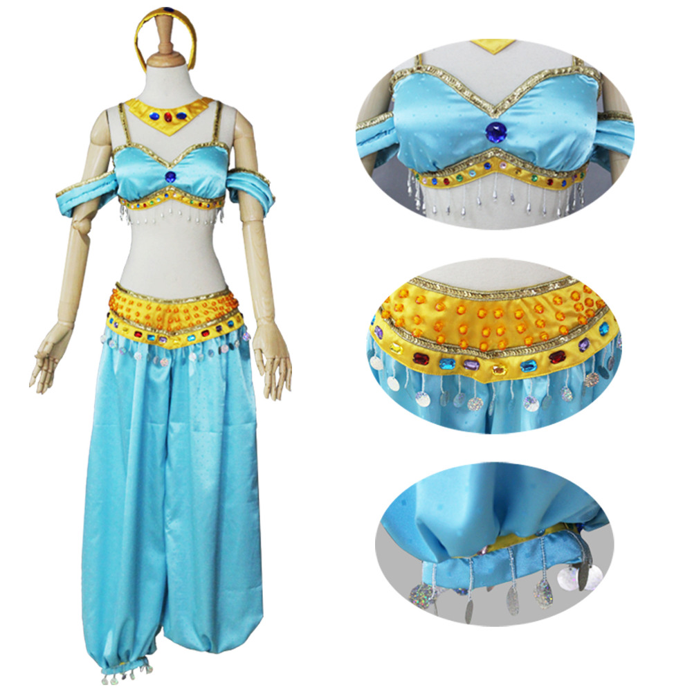 Princess Aladdin Jasmine Costume Fancy Dance Dress For Women Party Halloween Sexy Cosplay Costume Custom Made
