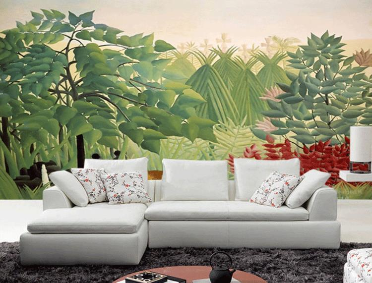 Living Room Jungle free shipping custom wall painting wallpaper bedroom living room