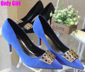 spring autumn shoes women red button high heels wedding shoes noble color loyal blue gorgeous metal decoration ladies pumps