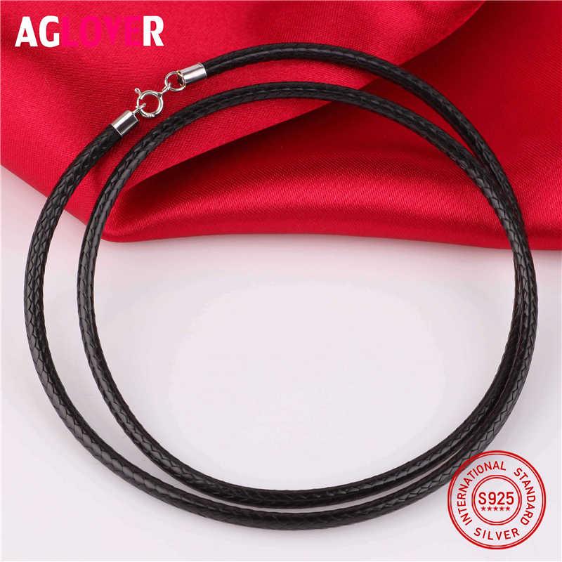 Rope Chain czarny 3mm naszyjnik 925 Sterling Silver złącza zatrzaski męski przewód łańcuchy dla mężczyzn kobiety liny wątek Choker biżuteria