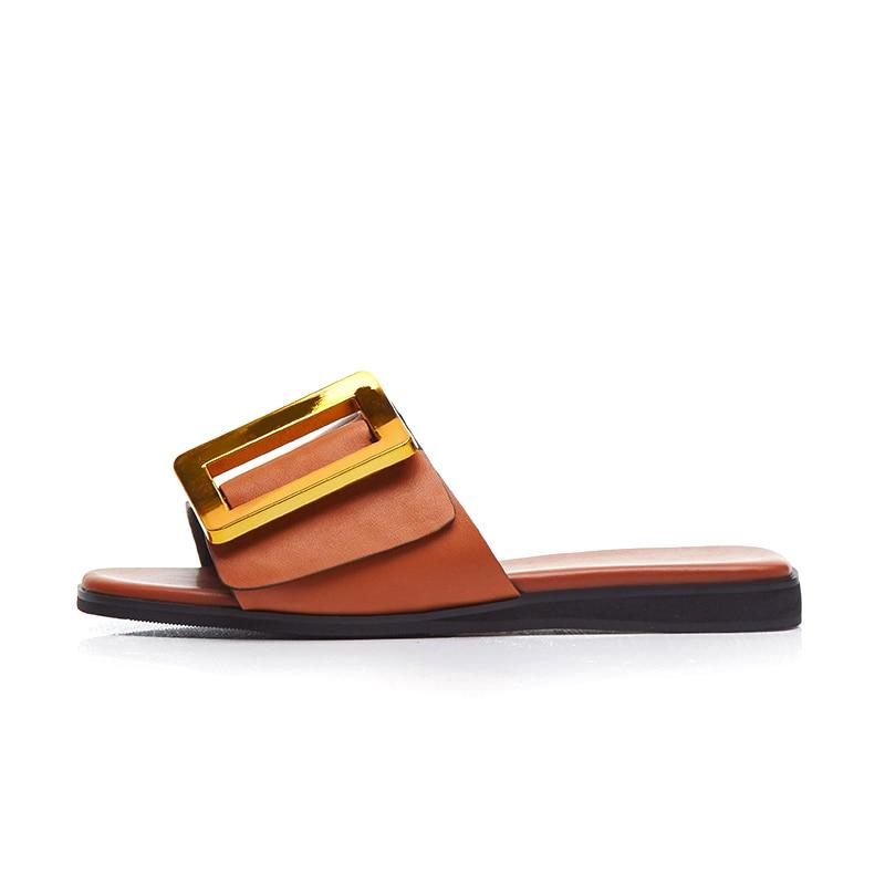 De Noir Flops Pantoufles blanc Design Cuir Grande marron En Chaussures Femme Mode Flip Taille 43 Karinluna rouge Luxe Brand Sandales Plat Avec Véritable 2019 Femmes c54SqARj3L