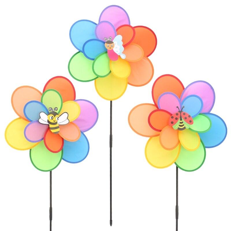 Molino de viento para insectos de doble capa, juguete para niños, decoración de jardín