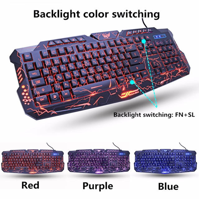 M200 Purple/Blue/Red LED Breathing Backlight Pro Gaming Keyboard Mouse Combos