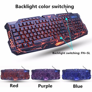 Image 2 - M200 fioletowy/niebieski/czerwony LED oddychające podświetlenie Pro Gaming zestawy klawiatura i mysz USB przewodowa pełna klawiatura profesjonalna mysz