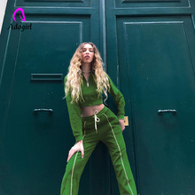 Adogirl Fitness Autumn Two Pieces Set Hoodie Top and Pant Tracksuit Women Elastic Waist Leisure Jogger Pants Outfits