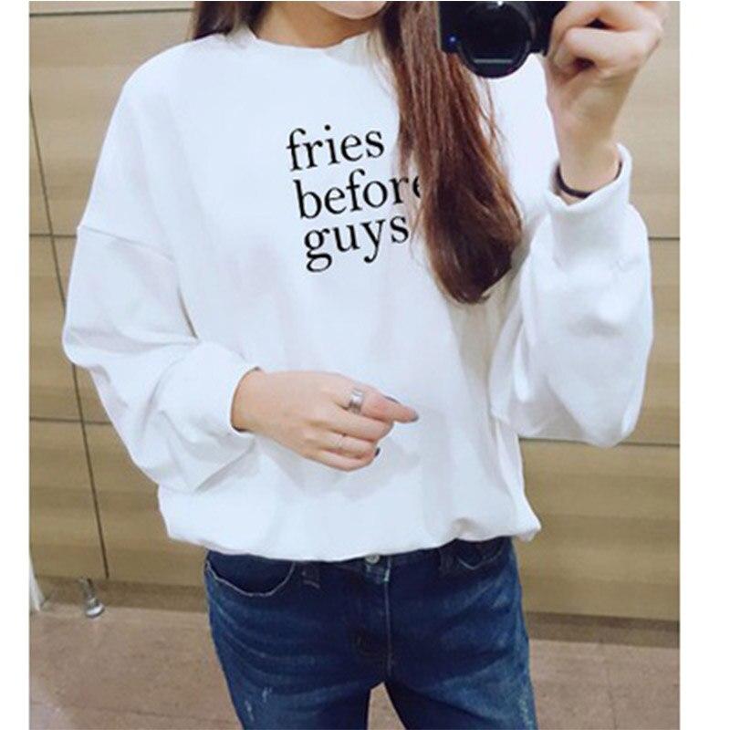 fries before Guys Women Hoodies Autmun Letter Printed Sweatshirt Cute Clothing