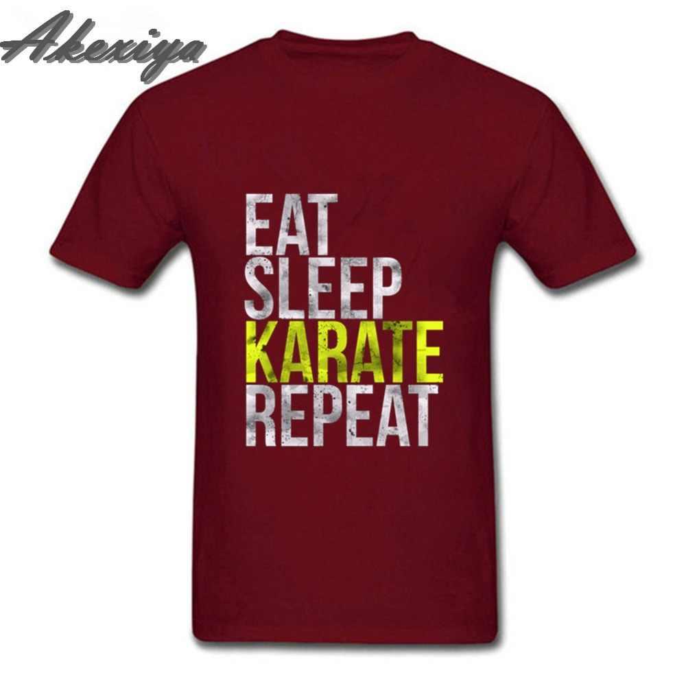 Eat Sleep каратэ Повторите смешные футболки модный поп O образным вырезом натуральный хлопок MenT-shirt fortnight Джокер Винтаж принт футболка Homme